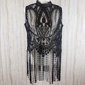 {Zara} Black Lace and Fringe Top